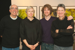 Vermont Public Radio's Neal Charnoff visits VCP to interview February 2013 exhibitor Kirsten Hoving. Left to right: Neal Charnoff, Kirsten Hoving, Joshua Farr, & Al Karevy